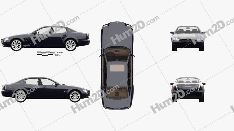 Maserati Quattroporte with HQ interior 2004 car clipart