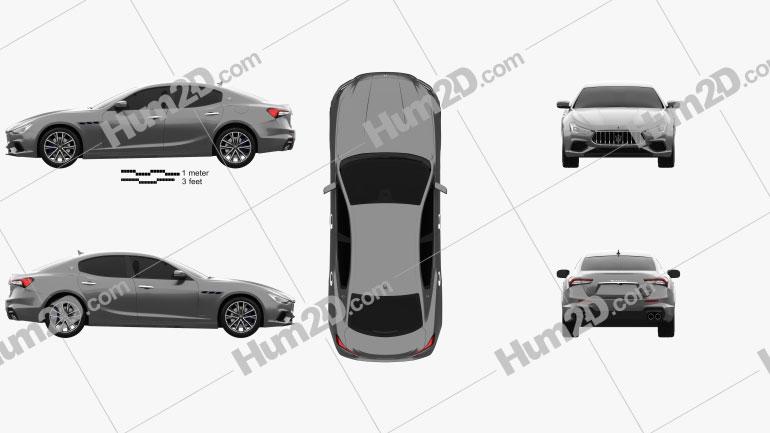 Maserati Ghibli Hybrid GranSport 2020 Clipart Image