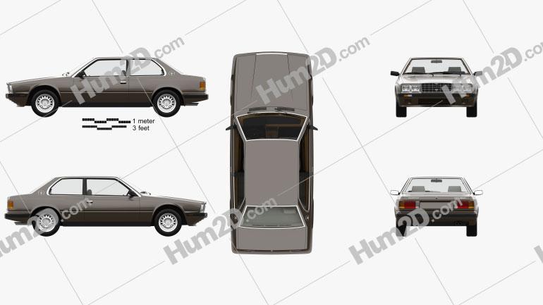 Maserati Biturbo coupe with HQ interior 1982 Clipart Image