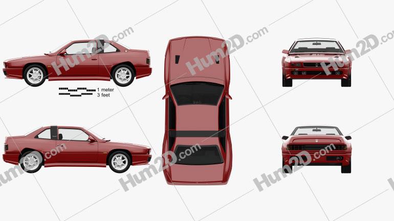 Maserati Shamal with HQ interior 1990 car clipart