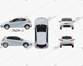 Mazda Demio (Mazda2) 3-door car clipart