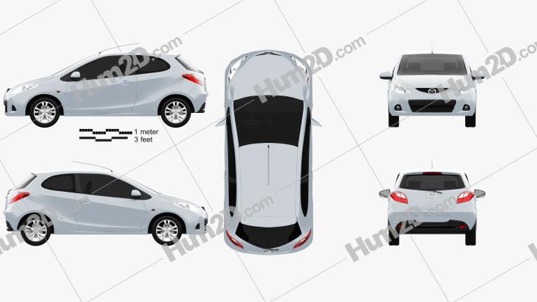 Mazda Demio (Mazda2) de 3 portas car clipart