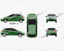 Mazda Demio (Mazda2) 5-door 2010 car clipart