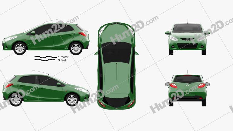 Mazda Demio (Mazda2) de 5 portas 2010 car clipart