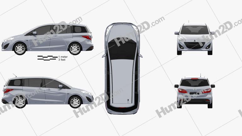 Mazda 5 (Premacy) 2011 Clipart Image