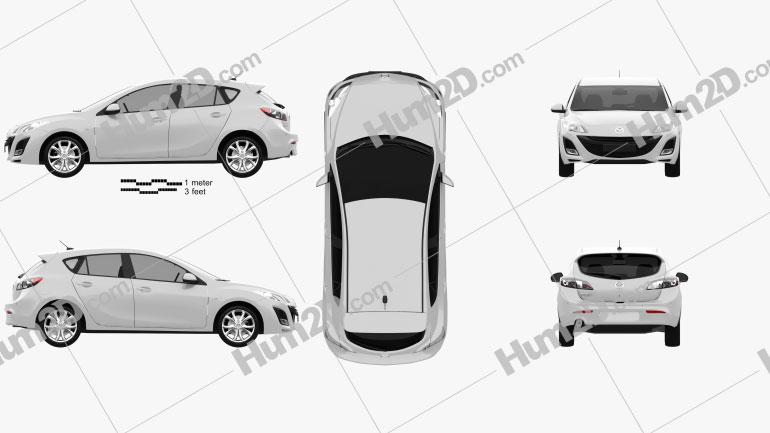 Mazda 3 hatchback 2011 car clipart