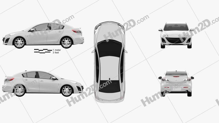 Mazda 3 Sedan 2011 Clipart Image