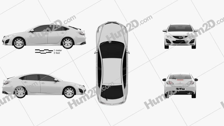 Mazda 6 Sedan 2011 Clipart Image