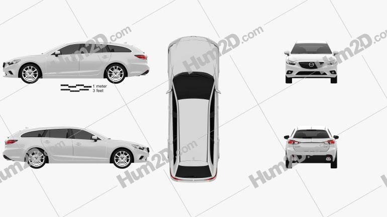 Mazda 6 wagon 2013 Clipart Image