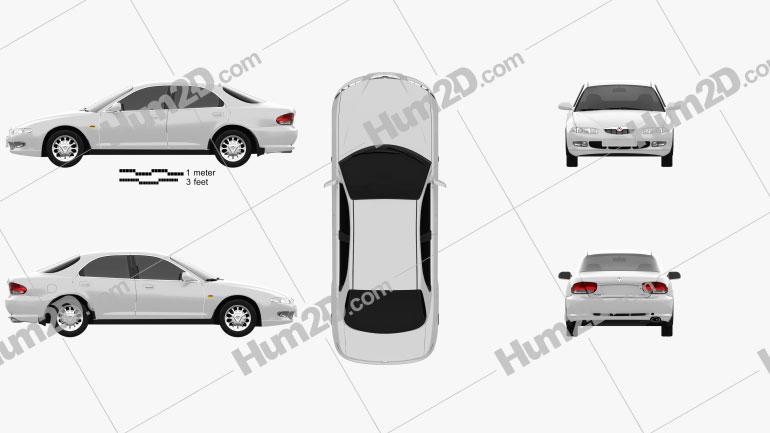 Mazda Xedos 6 (Eunos 500) 1992 Clipart Image