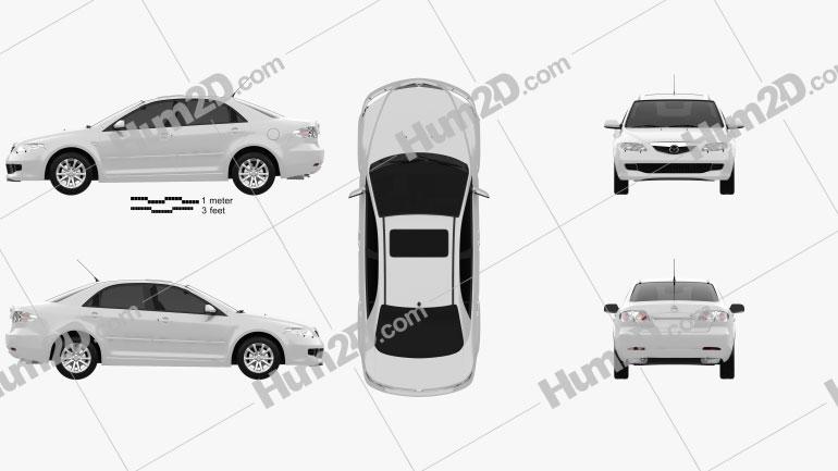 Mazda 6 sedan 2002 car clipart