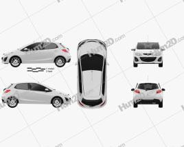 Mazda 2 (Demio) de 5 portas R 2013 car clipart