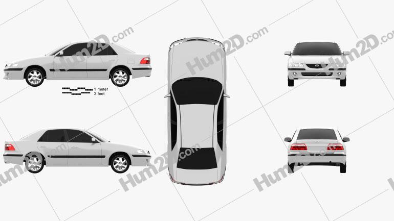 Mazda 626 (GF) sedan 1998 car clipart