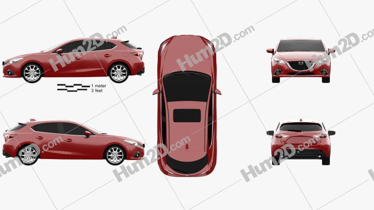 Mazda 3 hatchback 2014 car clipart