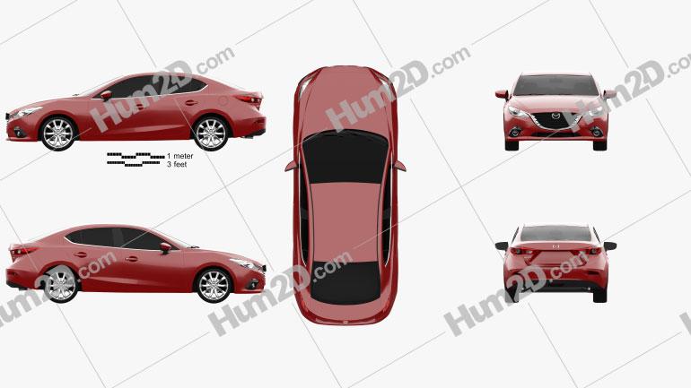 Mazda 3 sedan 2014 Clipart Image