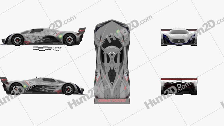 Mazda Furai 2008 Side & Top View car clipart