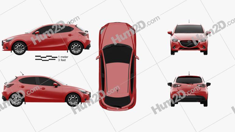 Mazda Demio de 5 portas hatchback 2014 car clipart