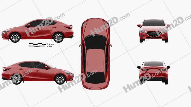 Mazda 2 (Demio) 2015 car clipart