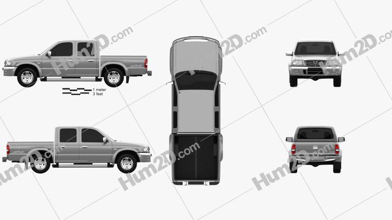 Mazda B-series (UN) 2500 Double Cab 2004 car clipart