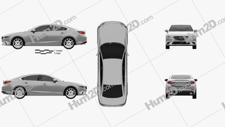 Mazda 6 GJ 2015 Clipart Image