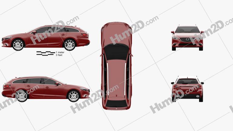 Mazda 6 GJ wagon 2015 car clipart