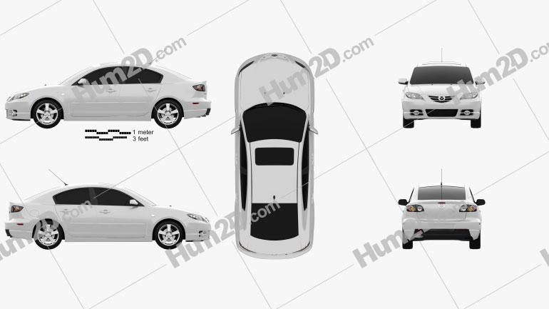 Mazda 3 sedan S 2005 car clipart