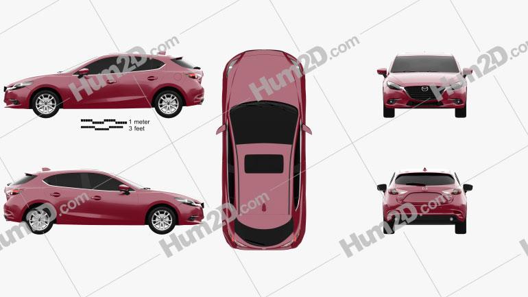 Mazda 3 BM hatchback 2017 car clipart