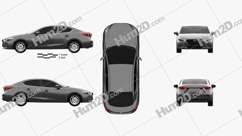 Mazda 3 BM sedan 2017 car clipart