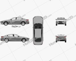 Mazda 6 GJ sedan with HQ interior 2015 Clipart