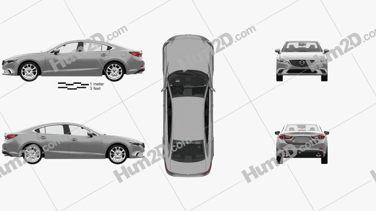 Mazda 6 GJ sedan with HQ interior 2015 car clipart