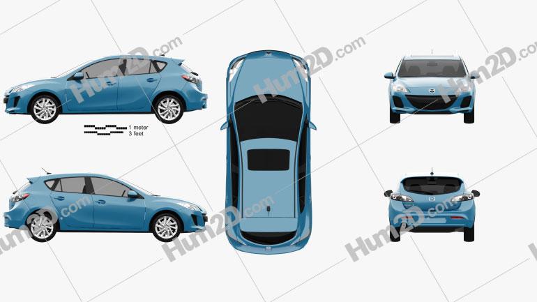 Mazda 3 BL2 US-spec hatchback 2011 car clipart