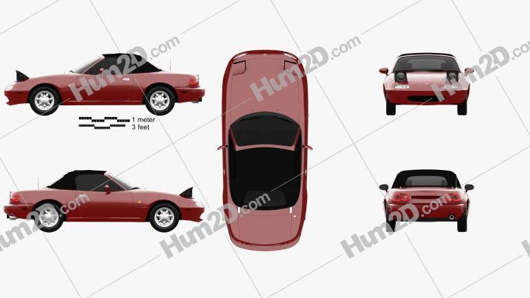Mazda MX-5 1989 car clipart