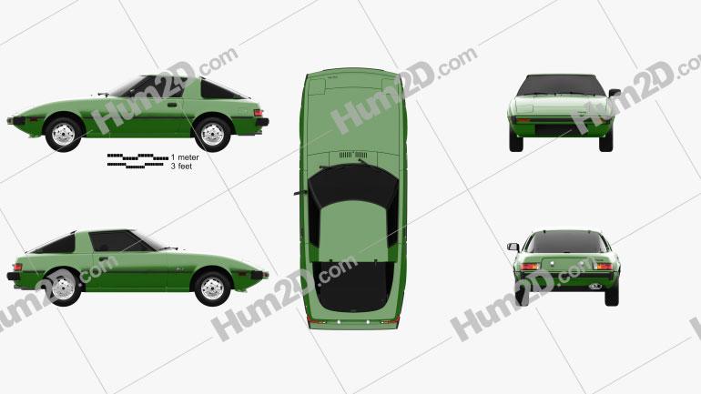 Mazda RX-7 1978 car clipart