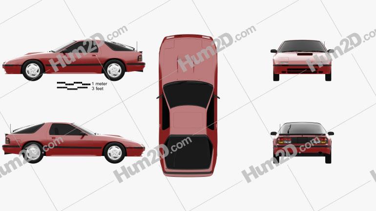 Mazda RX-7 coupe 1985 car clipart
