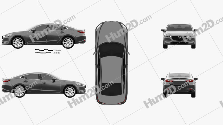 Mazda 6 sedan 2018 car clipart