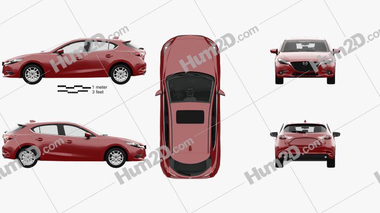Mazda 3 (BM) hatchback with HQ interior 2017 car clipart