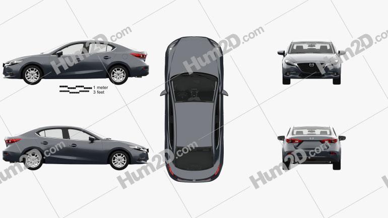 Mazda 3 (BM) sedan com interior HQ 2017 car clipart