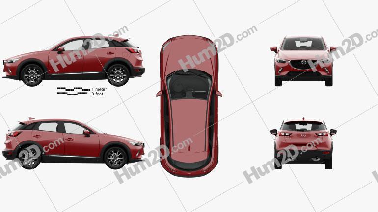 Mazda CX-3 GT-M with HQ interior 2016 Clipart Image