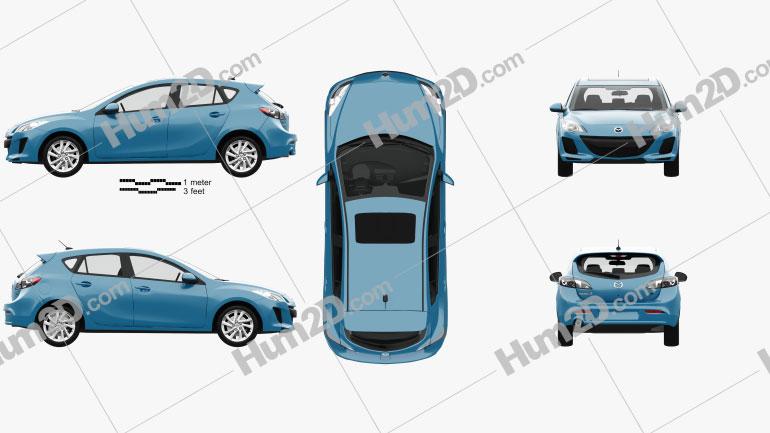 Mazda 3 US-spec hatchback  with HQ interior 2011 Clipart Image