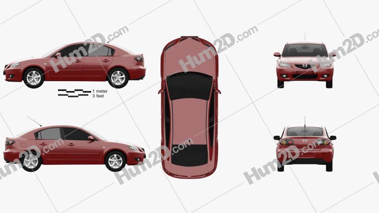 Mazda 3 sedan 2003 car clipart