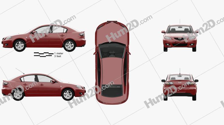 Mazda 3 sedan com interior HQ 2003 car clipart