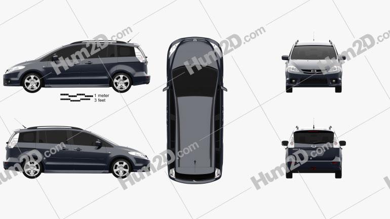 Mazda 5 Sport 2005 Clipart Image