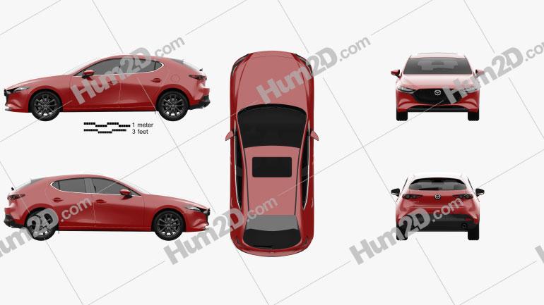 Mazda 3 hatchback 2019 car clipart