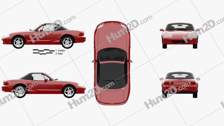 Mazda MX-5 convertible with HQ interior 1998 car clipart