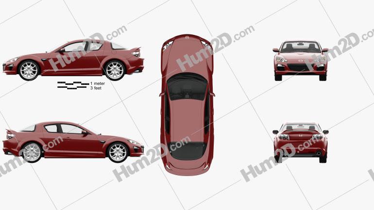 Mazda RX-8 with HQ interior 2008 car clipart