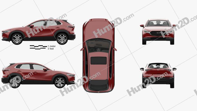 Mazda CX-30 with HQ interior 2020 car clipart