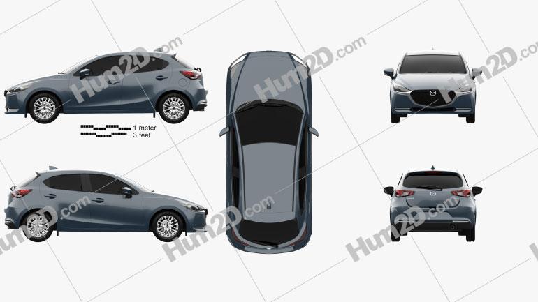 Mazda 2 hatchback 2019 Clipart Image