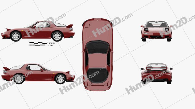 Mazda RX-7 with HQ interior 1992 car clipart