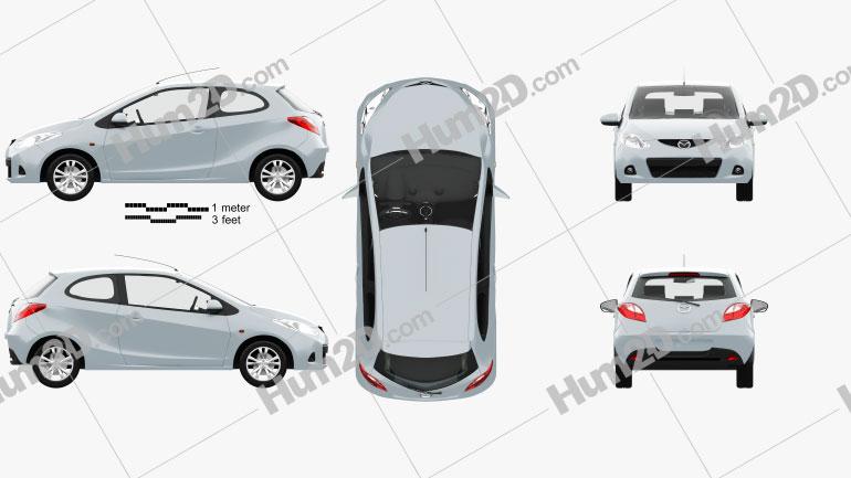Mazda 2 3-door with HQ interior 2007 car clipart