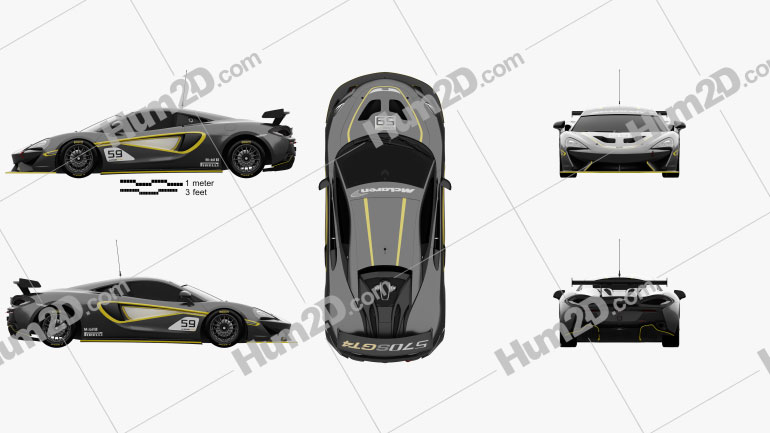 McLaren 570S GT4 2016 car clipart